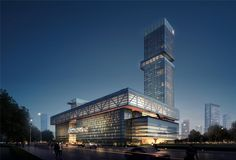 Guangzhou International Sourcing Centre on Behance Architectural Animation, 3d Architectural Visualization, Exterior Rendering, 3d Rendering, Museum Architecture, Architecture Design, Theme Hotel, Commercial Complex, Zhengzhou