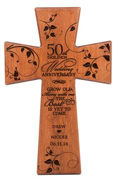 Personalized 50th golden wedding anniversary Wall cross, 50th anniversary gift ,Wedding Cross ,Gift for Grandparents  Cherry wood wall cross