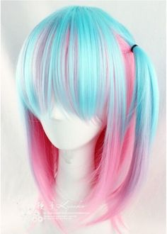 New-Lolita-Blue-Mixed-Pink-Anime-Women-Girl-Lovely-Cosplay-Hair-Full-Wig