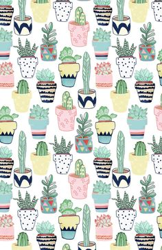 Cute Cacti in Pots Art Print by Tangerine-Tane | Society6