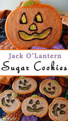 Jack O' Lantern Sugar Cookies are a fun Halloween treat, perfect for parties and as an activity to make with the kids.