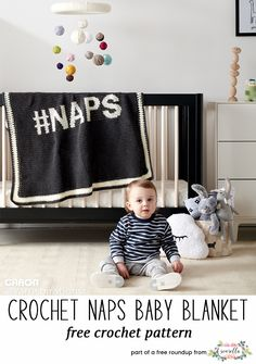Crochet this easy #NAPS baby blanket from Yarnspirations from my best crochet baby blankets for 2018 free pattern roundup!