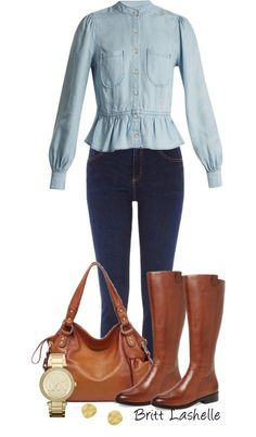 Simple Denim #Outfit Ideas! // Britta Shelie Fall Fashion Outfits, Casual Winter Outfits, Denim Outfits, Cool Outfits, Autumn Fashion, Gold Watch Outfit, Demin Jacket, Dark Blue Skinny Jeans, Classy Casual