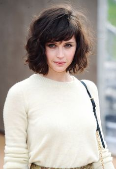 brown, wavy, short hair, felicity jones