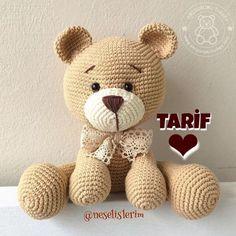 Crochet Bear, Crochet Animals, Crochet Toys, Amigurumi For Beginners, Crochet Dolls Free Patterns, Love Bear, Stuffed Animal Patterns, Knitted Blankets, Amigurumi Doll