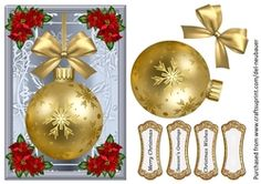 - A quick card featuring Christmas bauble and embellished with poinsettia corners. Sheet comes with decoupage layers and. Cup Design, Christmas Baubles, Poinsettia, Decoupage, Decorative Plates, Card Making, Holiday Decor, Cards, Gold