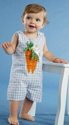 Mud Pie Bunny Shortall with Bunny and Carrot Applique, $24.99. Sizes 0-6 Months, 9-12 Months, and 12-18 Months. #baby #toddler #boys #Easter