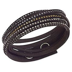 Swarovski 5021026 women's Slake Deluxe black adjustable bracelet carries a long black Alcantara fabric. This chic design bracelet features. Swarovski Slake Bracelet, Swarovski Jewelry, Crystal Jewelry, Black Bracelets, Metal Bracelets, Jewelry Bracelets, Bangles, Necklaces, Jewellery