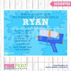 WATER GUN INVITATION Or Thank You Card Personalized Birthday Party Printables 59