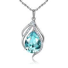 Sue's Secret Sky Blue Teardrop of Angel Pendant Necklace Jewelry Mother Gift with Crystals from Swarovski. MATERIAL: Elegant Crystals from Swarovski+ Clear White Cubic Zirconia + High Quality Alloy. We committed to provide you the highest standard materials and craftsmanship. SPECIFICATION: Teardrop Pendant: 1.1inch(Height)/0.63inch(Width); Chain:15.75inch+1.97inch(Extend Chain); Color: Sky Blue. HIGH QUALITY: With perfect polishing and cutting technology, our crystals SHINE as ZILLION…