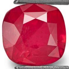 2.10-Carat Pleasing Orangy Red Cushion-Cut Vietnam Ruby