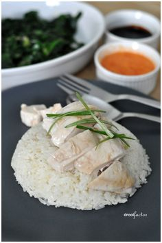 Singapore style hainanese chicken rice