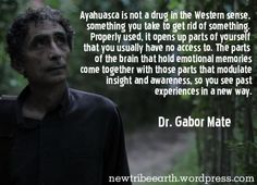 In this great quote by Hungarian-American physician Gabor Mate, he notes that ayahuasca is a way to tap into new emotions and experiences. Psychedelic Quotes, Gabor Mate, Sacred Plant, Medicinal Plants, Healer, Drugs, Psychology, The Cure, Psicologia