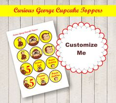 CURIOUS GEORGE personalized Centerpiece digital by BSNPartyArt