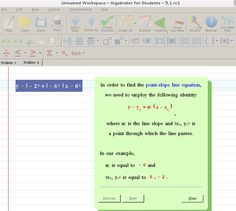 Find the equation of a line with slope and that passes through the point Algebra Help, Math Solver, You Working, Line, Equation, Student, School, Fishing Line, Equality