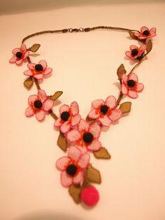 Silk Needle Lace turkish oya Necklace with by EvilEyeGiftShop, $75.00