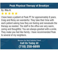 I have been a patient at Peak PT for approximately 8 years.  Craig and Ricky are...