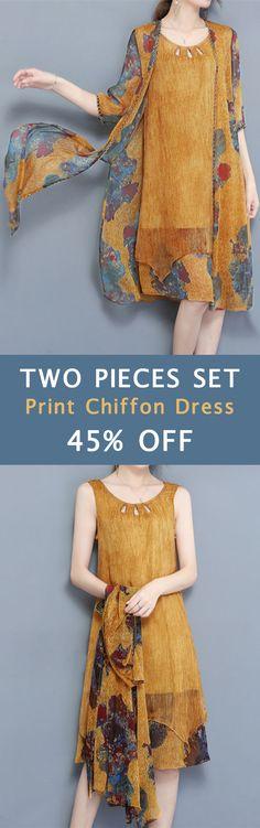 Elegant Two Pieces Set Half Sleeve Print Chiffon Women Dress. #women #dresses #springoutfit