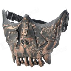 QiuZhang SW2108 Outdoor War Game Military Protective Skeleton Half Face Shield Mask - Black   Bronze Price: $16.00