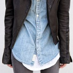 simple casual best combo denim shirt jacket leather white shirt grey jean