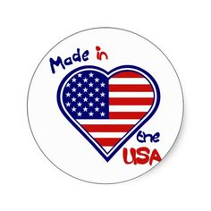 Made in the USA Heart Flag Stickers