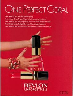 1988 Revlon Cindy Crawford One Perfect Coral 2 Page Ad | eBay