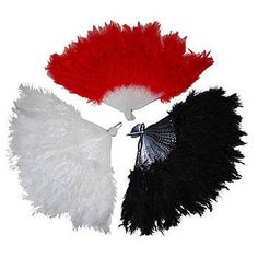 These gorgeous Feather Fans fan out to approximately 12 inches long x 9 inches high. You'll receive red, black, or white, let us choose which one.