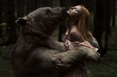 Fotograf Beauty and the bear von Alexandra Truhacheva auf She Wolf, Photoshop, Fantasy Photography, Animal Photography, Brown Bear, Spirit Animal, Beauty And The Beast, Portrait, Character Inspiration