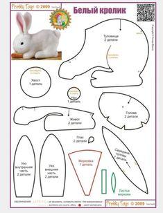 Sewing Stuffed Animals Eu Amo Artesanato: Coelho com molde Animal Sewing Patterns, Felt Patterns, Sewing Stuffed Animals, Stuffed Animal Patterns, Sewing Projects, Sewing Crafts, Plush Pattern, Free Pattern, Pinterest Crafts