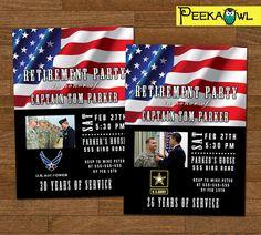 Personalized Military Retirement Invitation card by PeekaOwl