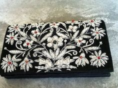 Silver Metal Beaded Floral Design Shoulder Bag by EcoBeachDesigns, $26.00