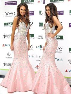 Charming Mermaid Pink Celebrity Dresses 2017 Sweetheart Off Shoulder Satin Beading New Arrival Sparkly Dresses xq96
