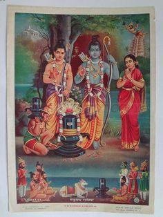 India ORIG Print RAMA WORSHIPS SHIVALINGA 47093 picclick.com