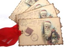 French Christmas Tags, Vintage Santa Gift Tags, Saint Nicholas, Handmade Holiday Hang Tags, Set of 10
