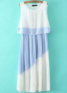 Vestido plisado contraste azul sin manga-blanco EUR€19.62
