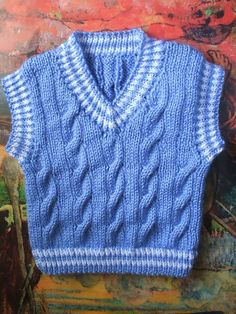 Baby Knitting Patterns, Knitting For Kids, Baby Blanket Crochet, Crochet Baby, Knit Crochet, Knit Baby Sweaters, Cable Sweater, Tricot Baby, Baby Vest
