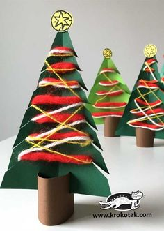 Christmas Kid Crafts - Holiday Fun - A More Crafty Life Cool Christmas Trees, Christmas Crafts For Gifts, Preschool Christmas, Christmas Projects, Preschool Crafts, Kids Christmas, Craft Gifts, Christmas Ornaments, Kid Crafts