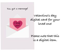 Valentine's day digital greeting card by Fdigitalstudio on Etsy Printable Quotes, Printable Art, Perfection Quotes, Sticker Shop, Handmade Items, Handmade Gifts, Beautiful Artwork, Marketing And Advertising, First Love