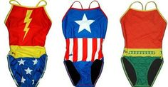 Superhero swimsuits! I NEED the Wonder Woman one! I pretty much only wore Wonder Woman underoos when I was little :)