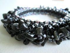 Sheen Obsidian Rock Candy Bangle Beaded Bracelet / Beadweaving / Beadwork by LindaBProkop on Etsy