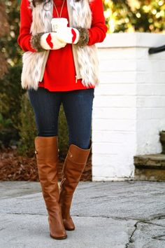 I Heart You. Over the knee boots and faux fur vest. Fall Winter Outfits, Winter Wear, Autumn Winter Fashion, Fall Fashion, Tall Girl Fashion, Love Fashion, Fur Vest Outfits, Cute Outfits, Valentine's Day Outfit