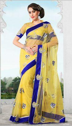 USD 76.32 Yellow Resham Work Net Party Wear Saree 28916