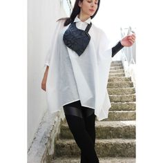 White Loose shirt/spring Asymmetrical shirt/loose tunic/oversized Maxi... ($77) ❤ liked on Polyvore featuring tops, tunics, black, women's clothing, plus size white shirt, white cotton tunic, plus size tunics, white shirts and womens plus size tunics