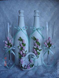 """Купить Свадебный комплект """"Тюльпаны"""" - бледно-розовый, свадебные аксессуары, свадебное шампанское, свадебные бокалы"""