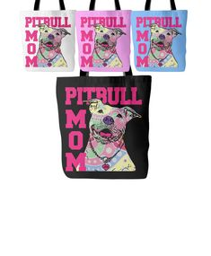Pitbull Mom Tote Bag  Design printed on front and back 18 x 18 Tote Bag  100% spun polyester poplin fabric  1 inch wide cotton shoulder strap  Black fabric lined  Dry or Spot Clean Only  Four Colors to Choose From - White, Black, Pink or Blue  ***Color may differ slightly from image on screen. Alternate products may appear different hues depending on Fabric. Not all computer monitors and phone resolutions are made equal.