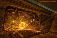 malowanie światłem most włocławek wełna stalowa light painting steel wool