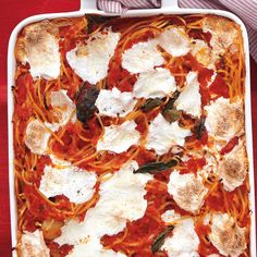 This new take on spaghetti is baked with fresh mozzarella, canned tomatoes, and aromatic basil for a crispy casserole main dish.