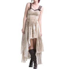 Asymmetric Beige Steampunk Dress | Crazyinlove UK