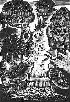 Paradise, 1928, Paul Nash, wood engraving, England print making