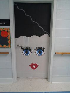 Frankenstein. Cover Door In Green. Two Triangles Attached To Black Rectangle For Mouth. Black Paper For Hair. White Circles With Black Circles Glue\u2026 & Frankenstein Door Cover u0026 Halloween Scary Skeleton Door Cover ... pezcame.com
